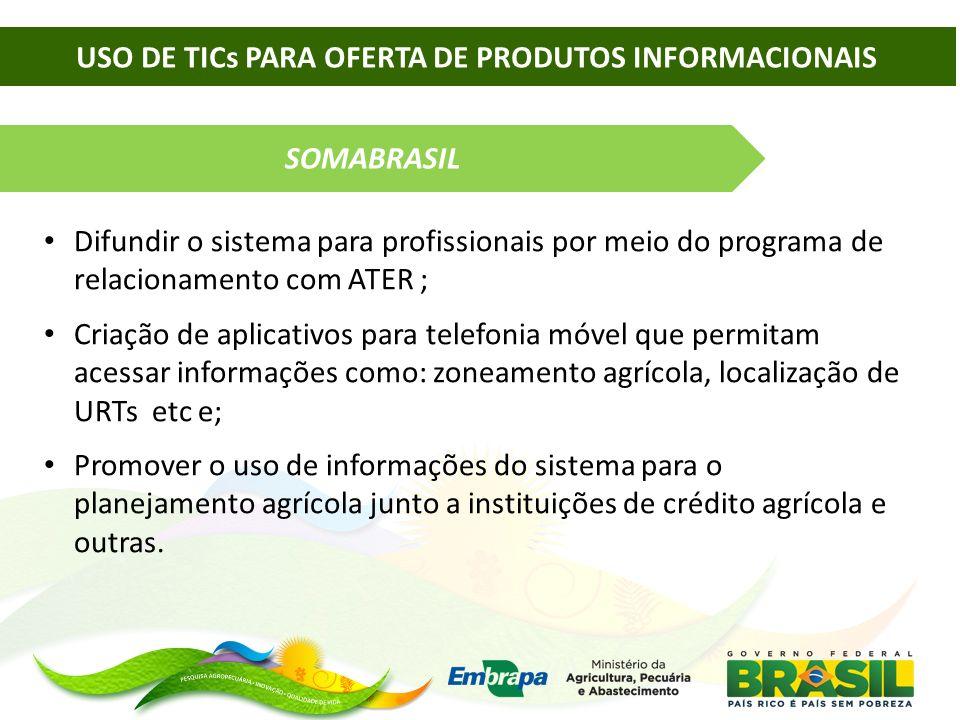 SOMABRASIL Difundir o sistema para profissionais por meio do programa de relacionamento com ATER ; Criação de aplicativos para telefonia móvel que per