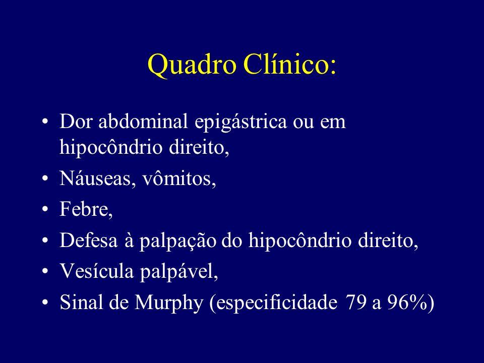 Quadro Clínico: Dor abdominal epigástrica ou em hipocôndrio direito, Náuseas, vômitos, Febre, Defesa à palpação do hipocôndrio direito, Vesícula palpá