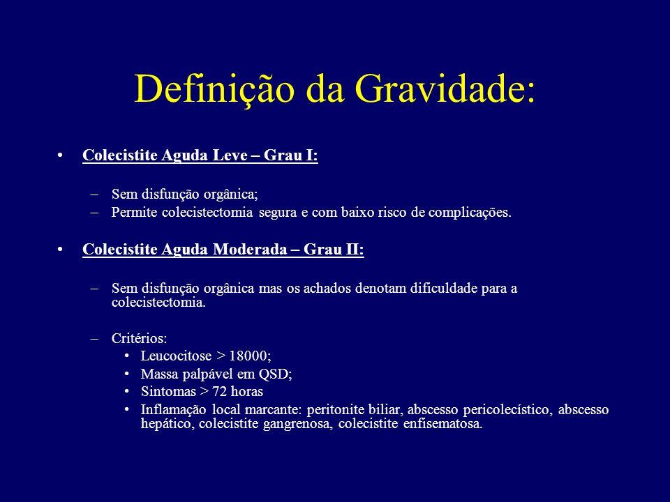 Definição da Gravidade: Colecistite Aguda Leve – Grau I: –Sem disfunção orgânica; –Permite colecistectomia segura e com baixo risco de complicações. C
