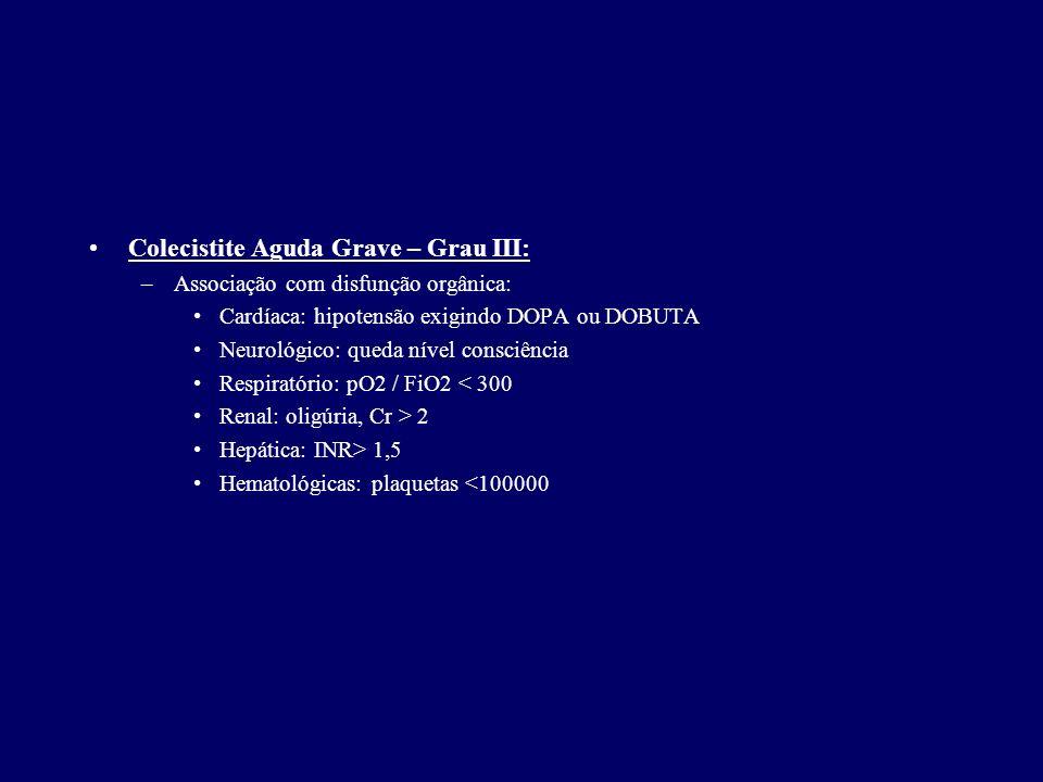 Colecistite Aguda Grave – Grau III: –Associação com disfunção orgânica: Cardíaca: hipotensão exigindo DOPA ou DOBUTA Neurológico: queda nível consciên