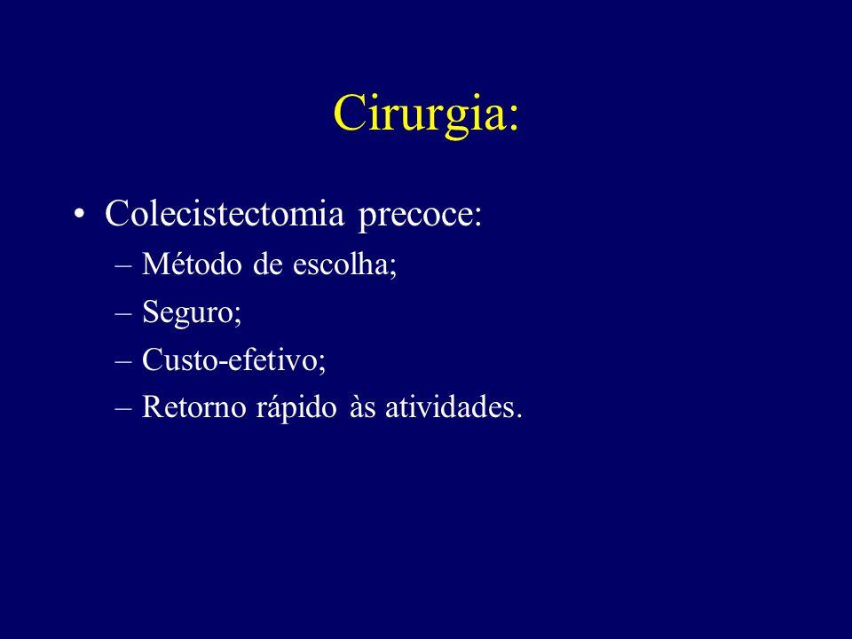 Cirurgia: Colecistectomia precoce: –Método de escolha; –Seguro; –Custo-efetivo; –Retorno rápido às atividades.