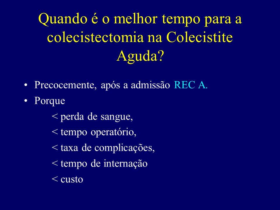 Quando é o melhor tempo para a colecistectomia na Colecistite Aguda? Precocemente, após a admissão REC A. Porque < perda de sangue, < tempo operatório