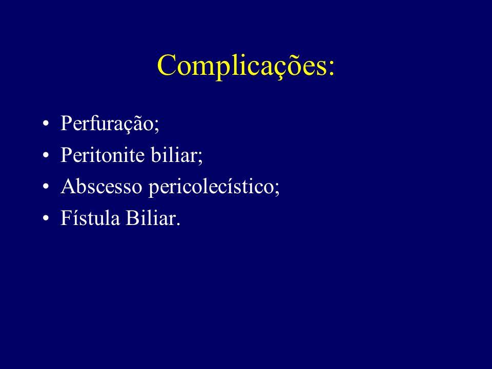 Complicações: Perfuração; Peritonite biliar; Abscesso pericolecístico; Fístula Biliar.