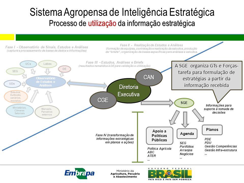 Sistema Agropensa de Inteligência Estratégica Processo de utilização da informação estratégica Observatório de Estudos e Análises Estudos, Outlooks, c