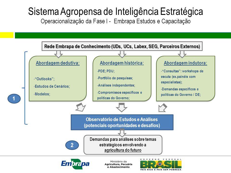 Sistema Agropensa de Inteligência Estratégica Operacionalização da Fase I - Embrapa Estudos e Capacitação Demandas para análises sobre temas estratégicos envolvendo a agricultura do futuro Abordagem dedutiva: - Outlooks; - Estudos de Cenários; - Modelos; Abordagem dedutiva: - Outlooks; - Estudos de Cenários; - Modelos; Abordagem histórica: - PDE; PDU; - Portfólio de pesquisas; - Análises independentes; - Compromissos específicos e políticas do Governo; Abordagem histórica: - PDE; PDU; - Portfólio de pesquisas; - Análises independentes; - Compromissos específicos e políticas do Governo; Abordagem indutora: - Consultas: workshops de escuta (ex.painéis com especialistas); - Demandas específicos e políticas do Governo / DE; Abordagem indutora: - Consultas: workshops de escuta (ex.painéis com especialistas); - Demandas específicos e políticas do Governo / DE; Observatório de Estudos e Análises (potenciais oportunidades e desafios) 2 1 Rede Embrapa de Conhecimento (UDs, UCs, Labex, SEG, Parceiros Externos)