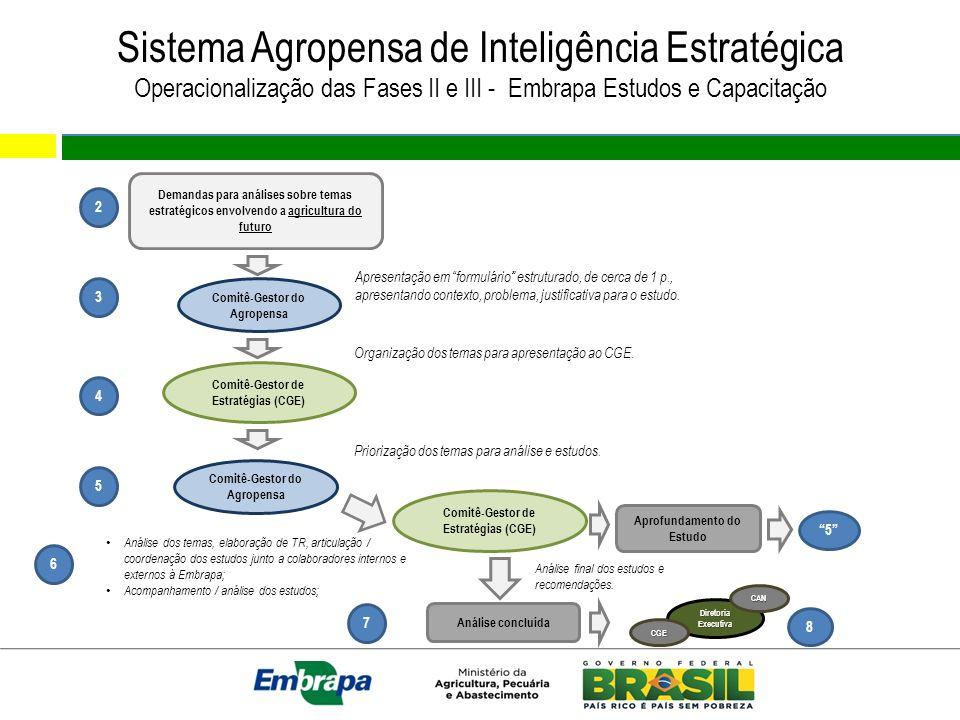 Sistema Agropensa de Inteligência Estratégica Operacionalização das Fases II e III - Embrapa Estudos e Capacitação Demandas para análises sobre temas