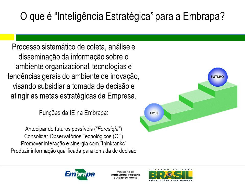 O que é Inteligência Estratégica para a Embrapa? Processo sistemático de coleta, análise e disseminação da informação sobre o ambiente organizacional,