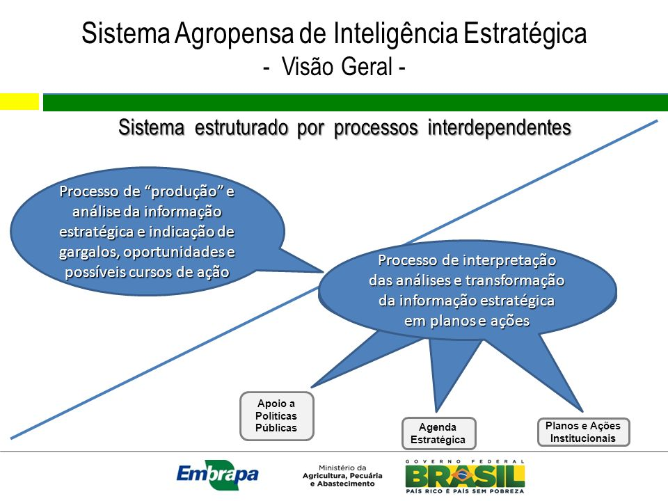 Sistema Agropensa de Inteligência Estratégica - Visão Geral - Sistema estruturado por processos interdependentes Processo de produção e análise da inf