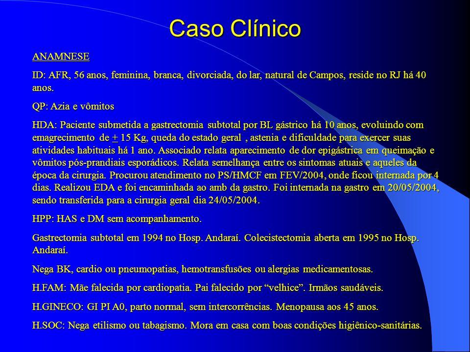 Caso Clínico ANAMNESE ID: AFR, 56 anos, feminina, branca, divorciada, do lar, natural de Campos, reside no RJ há 40 anos. QP: Azia e vômitos HDA: Paci