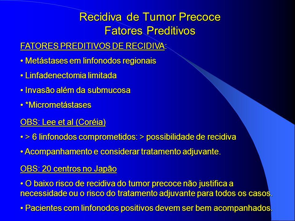 Recidiva de Tumor Precoce Fatores Preditivos FATORES PREDITIVOS DE RECIDIVA: Metástases em linfonodos regionais Metástases em linfonodos regionais Lin