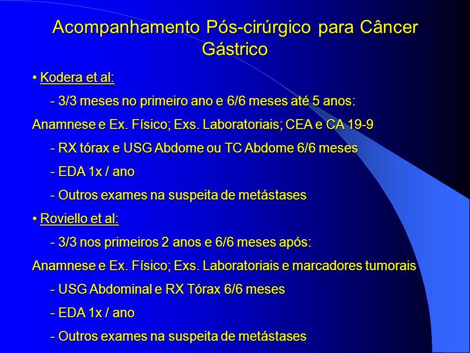 Acompanhamento Pós-cirúrgico para Câncer Gástrico Kodera et al: Kodera et al: - 3/3 meses no primeiro ano e 6/6 meses até 5 anos: - 3/3 meses no prime