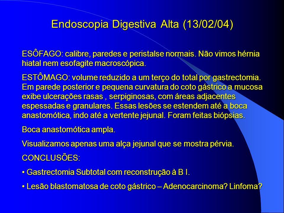Endoscopia Digestiva Alta (13/02/04) ESÔFAGO: calibre, paredes e peristalse normais. Não vimos hérnia hiatal nem esofagite macroscópica. ESTÔMAGO: vol