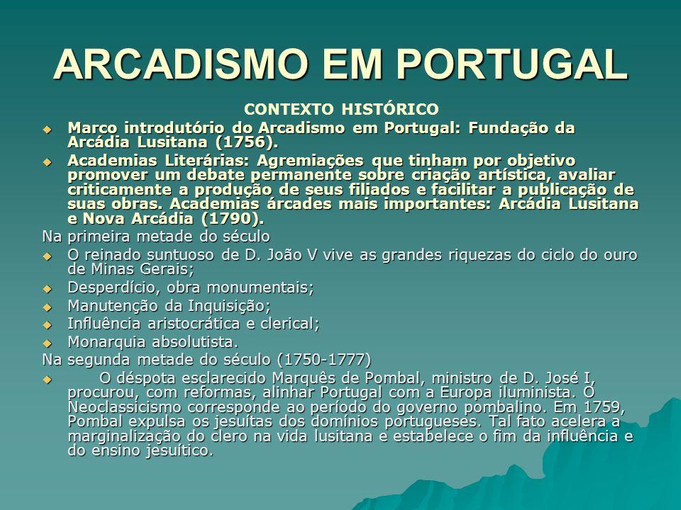 ARCADISMO EM PORTUGAL CONTEXTO HISTÓRICO Marco introdutório do Arcadismo em Portugal: Fundação da Arcádia Lusitana (1756). Marco introdutório do Arcad