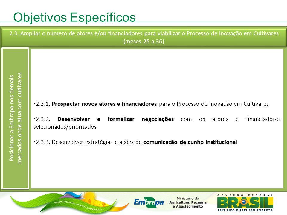 Objetivos Específicos Prospectar novos atores e financiadores 2.3.1.