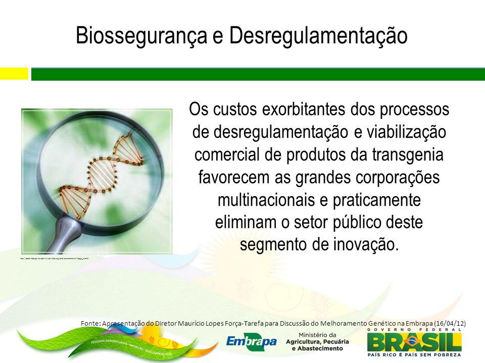 Biossegurança e Desregulamentação Os custos exorbitantes dos processos de desregulamentação e viabilização comercial de produtos da transgenia favorec