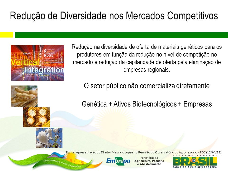 Redução de Diversidade nos Mercados Competitivos Redução na diversidade de oferta de materiais genéticos para os produtores em função da redução no nível de competição no mercado e redução da capilaridade de oferta pela eliminação de empresas regionais.