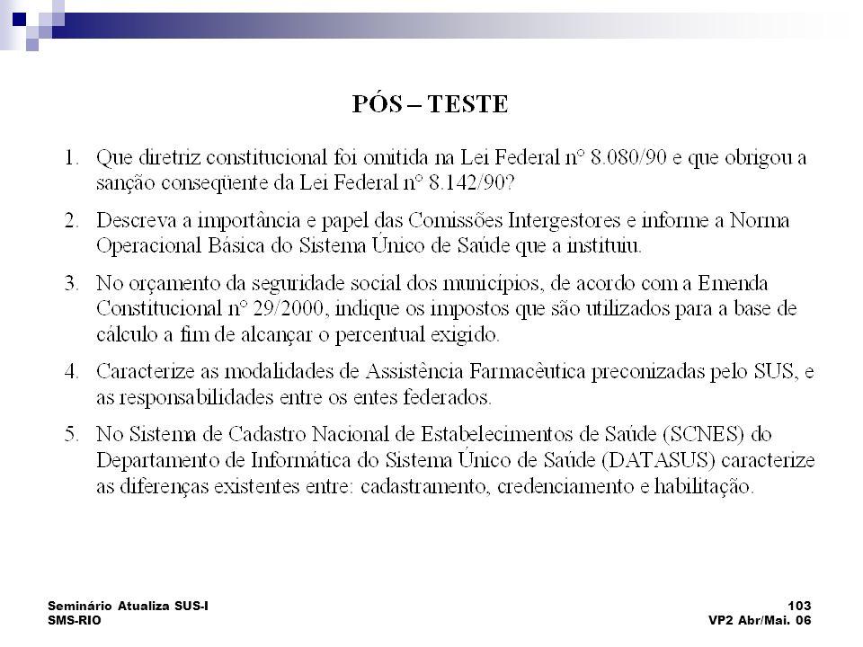 Seminário Atualiza SUS-I SMS-RIO 103 VP2 Abr/Mai. 06