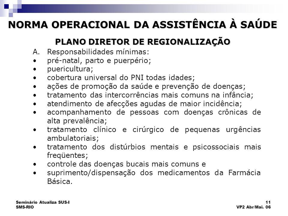 Seminário Atualiza SUS-I SMS-RIO 11 VP2 Abr/Mai. 06 PLANO DIRETOR DE REGIONALIZAÇÃO A.Responsabilidades mínimas: pré-natal, parto e puerpério; puericu