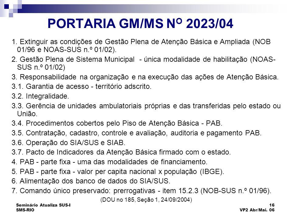 Seminário Atualiza SUS-I SMS-RIO 16 VP2 Abr/Mai. 06 PORTARIA GM/MS N O 2023/04 1. Extinguir as condições de Gestão Plena de Atenção Básica e Ampliada
