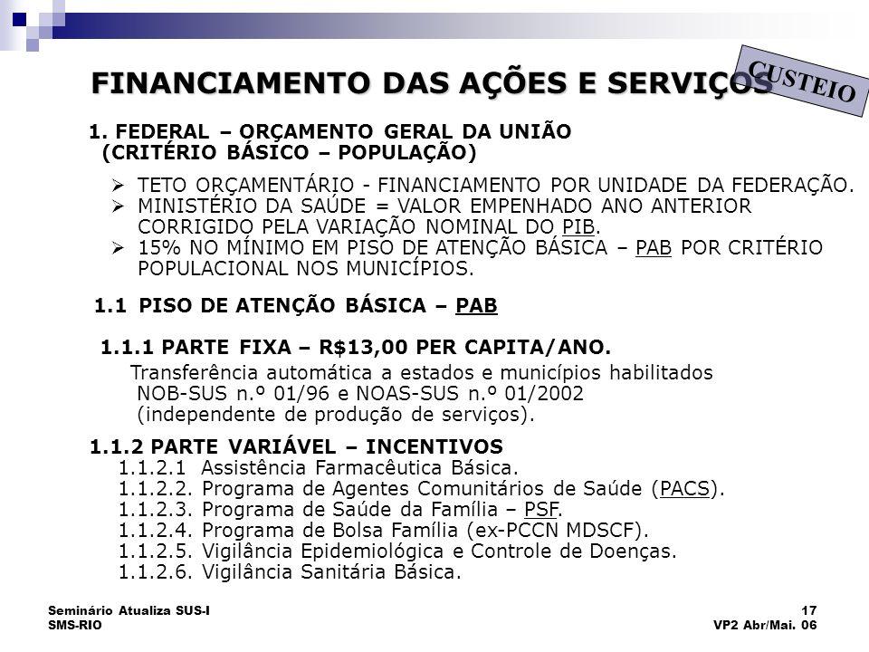 Seminário Atualiza SUS-I SMS-RIO 17 VP2 Abr/Mai. 06 FINANCIAMENTO DAS AÇÕES E SERVIÇOS CUSTEIO 1.1.2 PARTE VARIÁVEL – INCENTIVOS 1.1.2.1 Assistência F