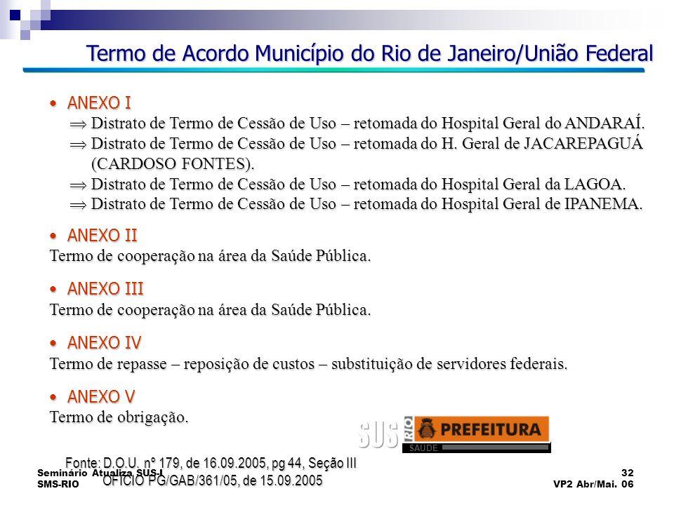 Seminário Atualiza SUS-I SMS-RIO 32 VP2 Abr/Mai. 06 Termo de Acordo Município do Rio de Janeiro/União Federal ANEXO I ANEXO I Distrato de Termo de Ces