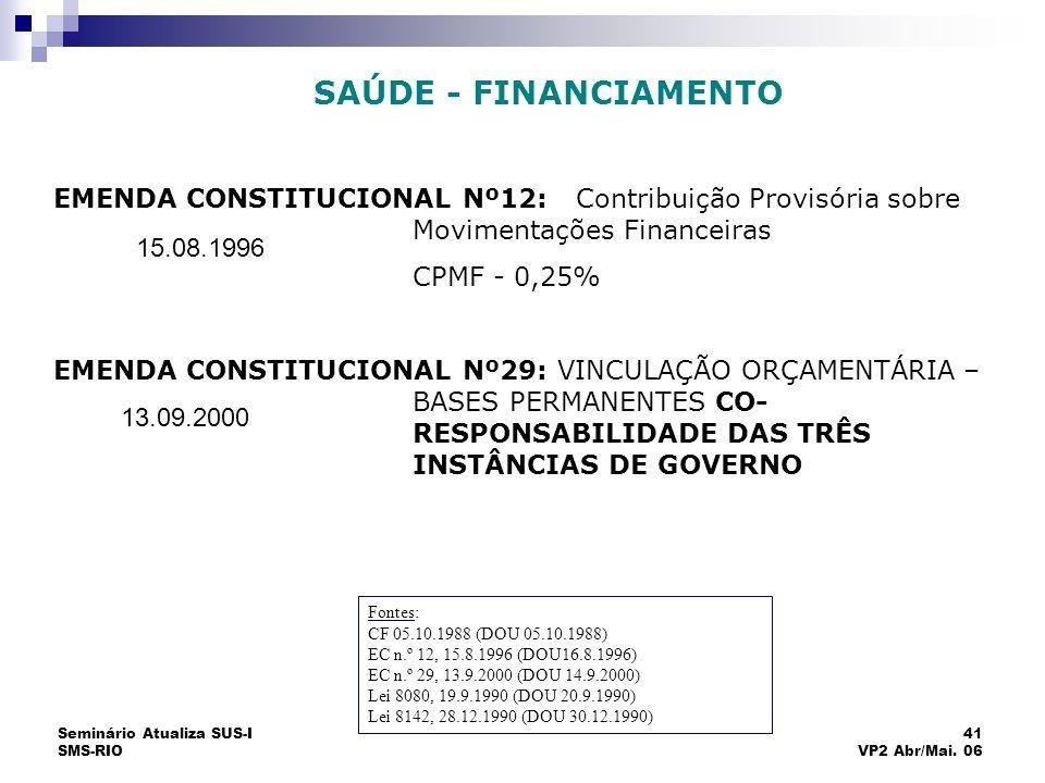 Seminário Atualiza SUS-I SMS-RIO 41 VP2 Abr/Mai. 06 ARCABOUÇO JURÍDICO EMENDA CONSTITUCIONAL Nº12:Contribuição Provisória sobre Movimentações Financei