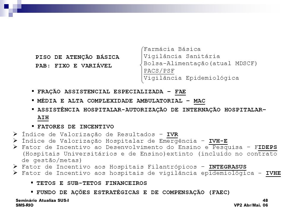 Seminário Atualiza SUS-I SMS-RIO 48 VP2 Abr/Mai. 06 Índice de Valorização de Resultados – IVR Índice de Valorização Hospitalar de Emergência – IVH-E F