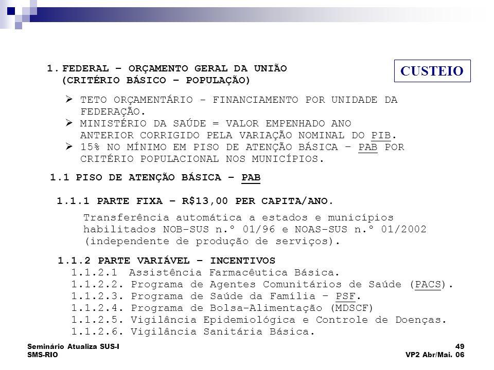Seminário Atualiza SUS-I SMS-RIO 49 VP2 Abr/Mai. 06 FINANCIAMENTO DAS AÇÕES E SERVIÇOS CUSTEIO 1.1.2 PARTE VARIÁVEL – INCENTIVOS 1.1.2.1 Assistência F