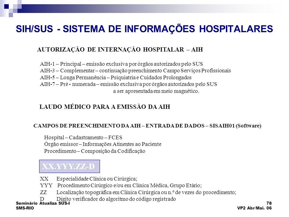 Seminário Atualiza SUS-I SMS-RIO 78 VP2 Abr/Mai. 06 SIH/SUS - SISTEMA DE INFORMAÇÕES HOSPITALARES AUTORIZAÇÃO DE INTERNAÇÃO HOSPITALAR – AIH AIH-1 – P