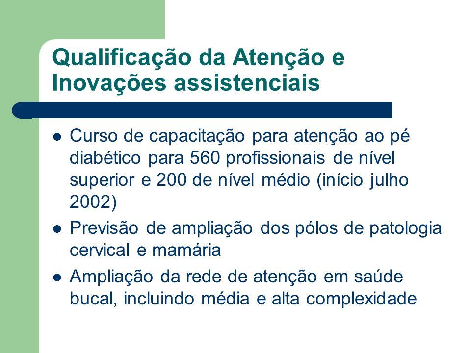Qualificação da Atenção e Inovações assistenciais Curso de capacitação para atenção ao pé diabético para 560 profissionais de nível superior e 200 de