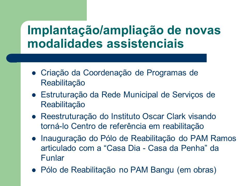 Implantação/ampliação de novas modalidades assistenciais Criação da Coordenação de Programas de Reabilitação Estruturação da Rede Municipal de Serviço