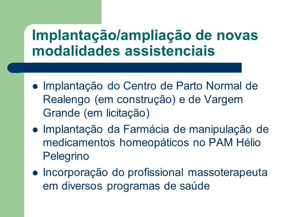 Implantação/ampliação de novas modalidades assistenciais Implantação do Centro de Parto Normal de Realengo (em construção) e de Vargem Grande (em lici