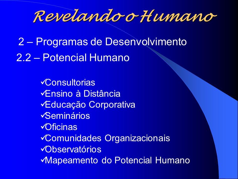 Revelando o Humano 2 – Programas de Desenvolvimento 2.2 – Potencial Humano Consultorias Ensino à Distância Educação Corporativa Seminários Oficinas Co