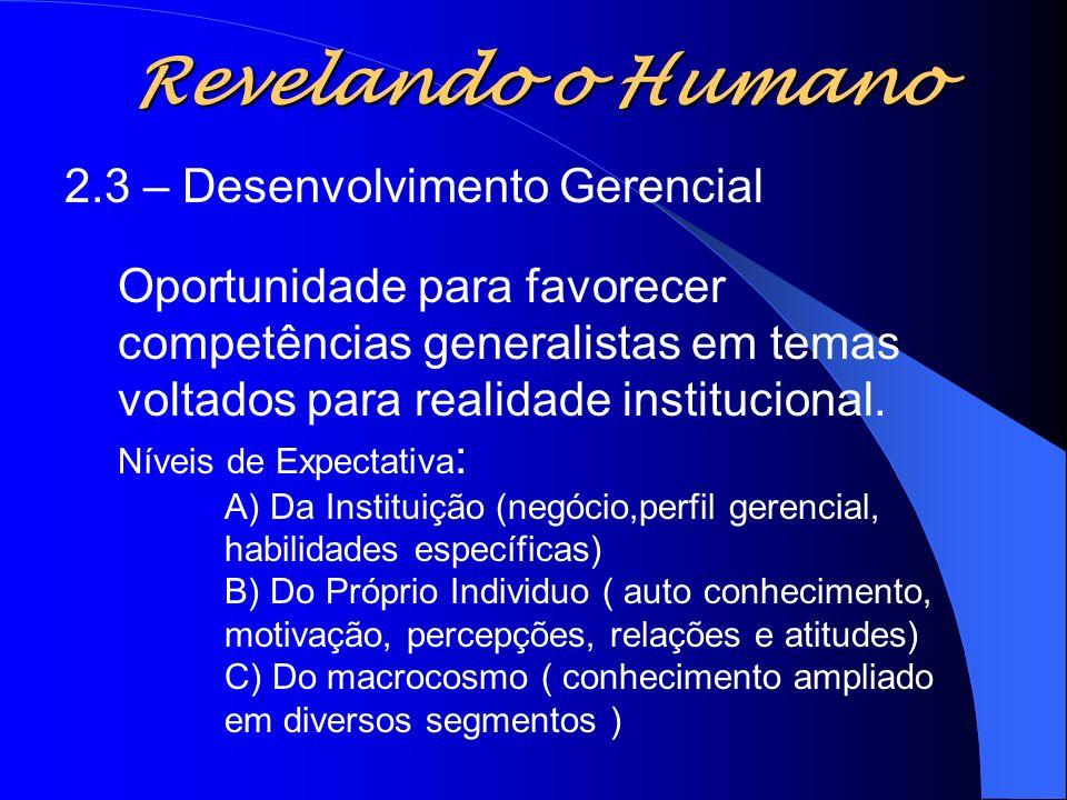 Revelando o Humano 2.3 – Desenvolvimento Gerencial Oportunidade para favorecer competências generalistas em temas voltados para realidade instituciona