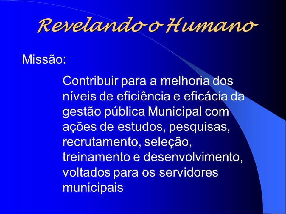 Revelando o Humano Missão: Contribuir para a melhoria dos níveis de eficiência e eficácia da gestão pública Municipal com ações de estudos, pesquisas,
