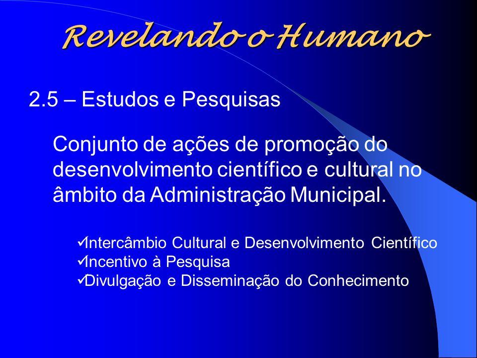 Revelando o Humano 2.5 – Estudos e Pesquisas Conjunto de ações de promoção do desenvolvimento científico e cultural no âmbito da Administração Municip