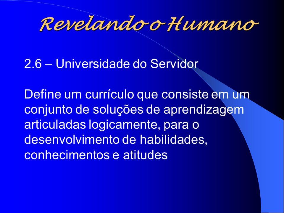 Revelando o Humano 2.6 – Universidade do Servidor Define um currículo que consiste em um conjunto de soluções de aprendizagem articuladas logicamente,
