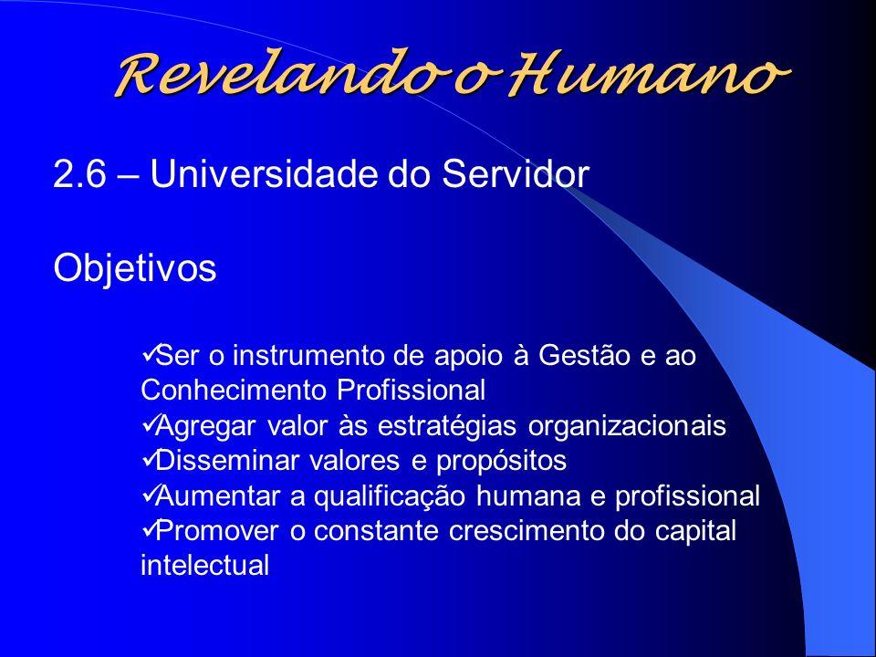 Revelando o Humano 2.6 – Universidade do Servidor Objetivos Ser o instrumento de apoio à Gestão e ao Conhecimento Profissional Agregar valor às estrat