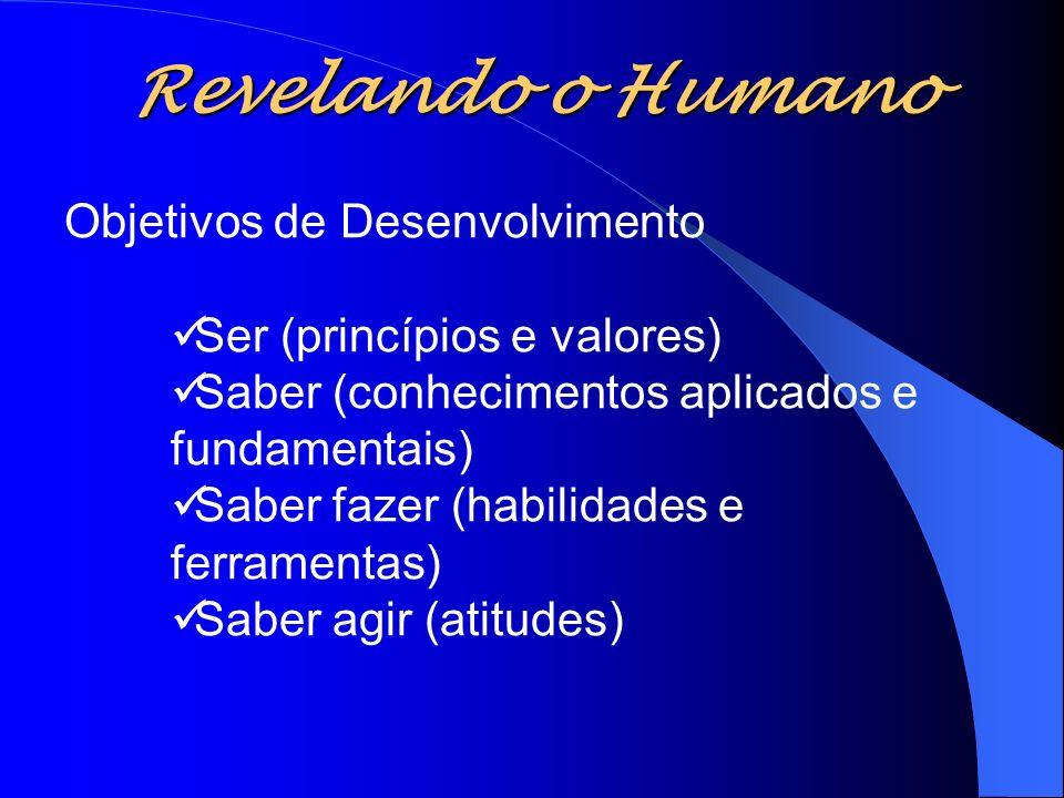 Objetivos de Desenvolvimento Ser (princípios e valores) Saber (conhecimentos aplicados e fundamentais) Saber fazer (habilidades e ferramentas) Saber a