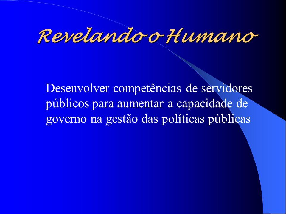 Revelando o Humano - Ser um espaço de reflexão e debate sobre Administração pública -Ser um centro de referência em políticas públicas capaz de inovar e irradiar boas práticas -Ter padrão de qualidade -Valorizar o servidor