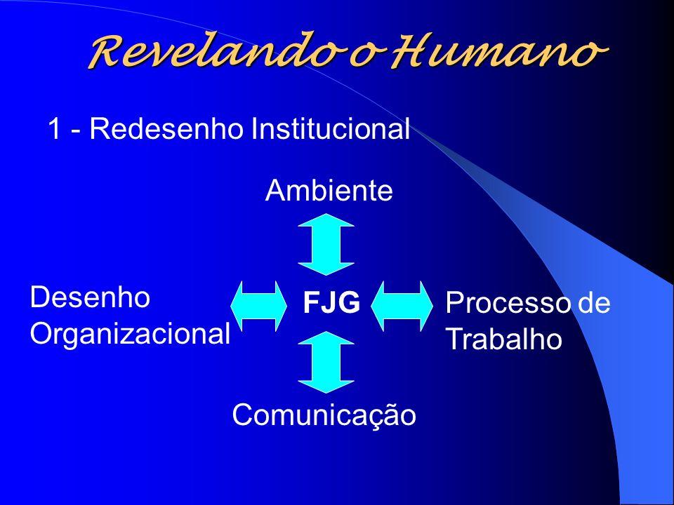 Revelando o Humano FJGProcesso de Trabalho Comunicação Desenho Organizacional Ambiente 1 - Redesenho Institucional