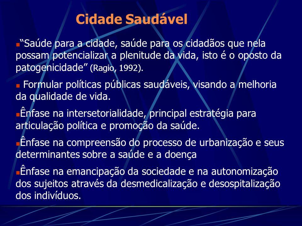 Cidade Saudável Saúde para a cidade, saúde para os cidadãos que nela possam potencializar a plenitude da vida, isto é o oposto da patogenicidade (Ragio, 1992).