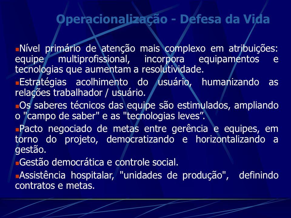 Operacionalização - Defesa da Vida Nível primário de atenção mais complexo em atribuições: equipe multiprofissional, incorpora equipamentos e tecnologias que aumentam a resolutividade.
