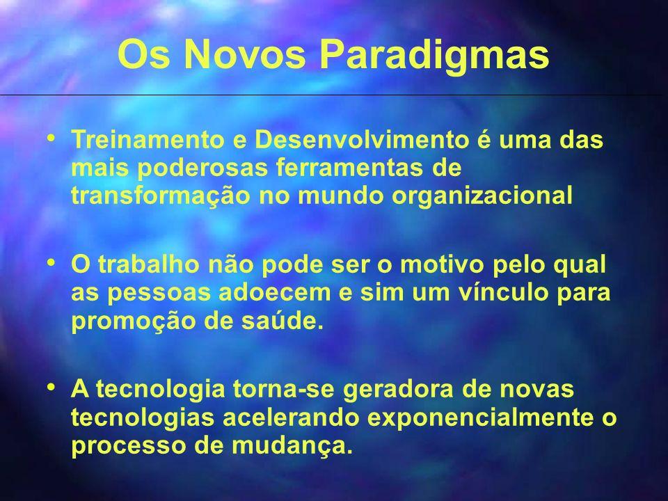 Os Novos Paradigmas Treinamento e Desenvolvimento é uma das mais poderosas ferramentas de transformação no mundo organizacional O trabalho não pode ser o motivo pelo qual as pessoas adoecem e sim um vínculo para promoção de saúde.