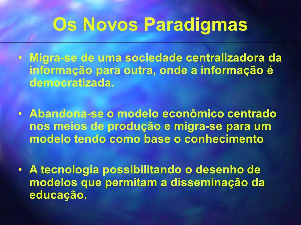 Os Novos Paradigmas Migra-se de uma sociedade centralizadora da informação para outra, onde a informação é democratizada.