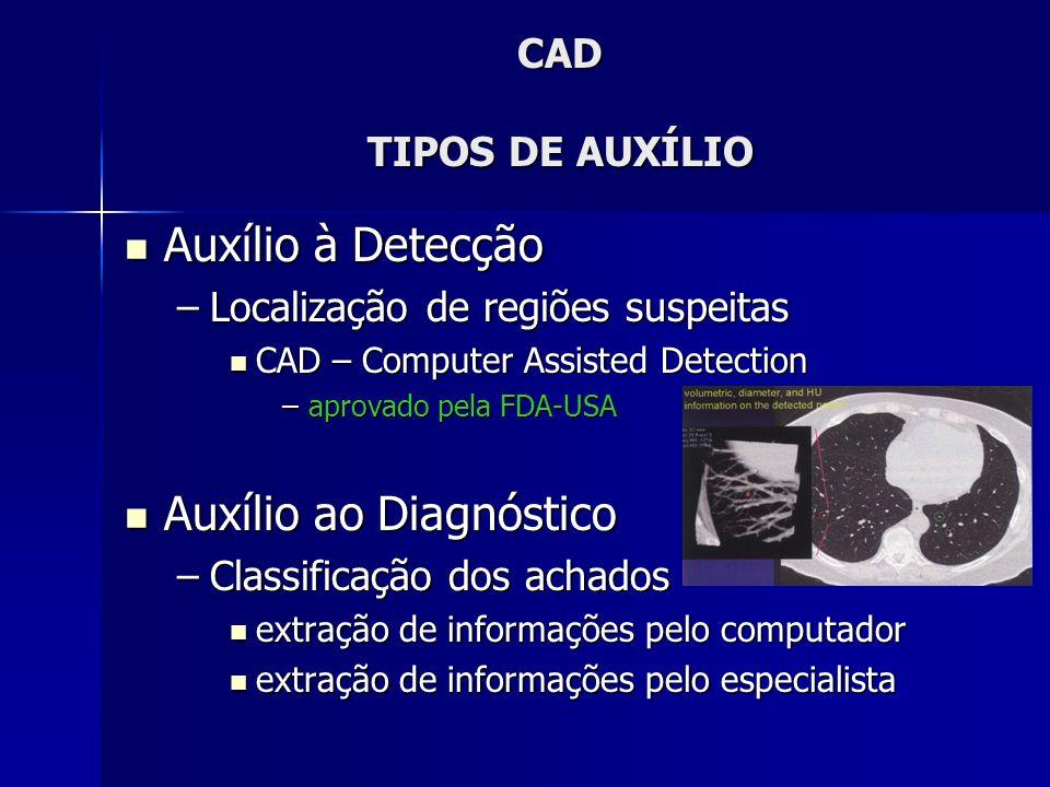 CAD PRINCIPAIS ÁREAS DE APLICAÇÃO Mamografia Mamografia –Detecção de agrupamentos de calcificações –Detecção de nódulos –Medidas de densidade –Detecção de assimetrias –Caracterização de lesões mamográficas Radiografia de Tórax Radiografia de Tórax –Detecção de nódulos pulmonares –Diagnóstico diferencial de lesões intersticiais –Detecção de anormalidades (pneumotórax, tamanho do coração, assimterias, outras)