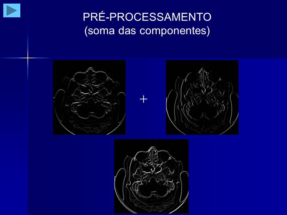 PRÉ-PROCESSAMENTO (realce da imagem) Métodos no domínio da freqüência (modificação da Transformada de Fourier da imagem) filtragem passa-baixa filtragem passa-alta filtragem passa-banda Métodos no domínio espaço-freqüência (modificação da Transformada Wavelet da imagem)