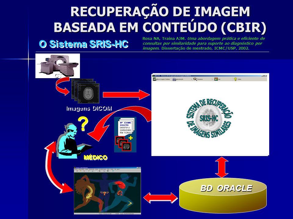 PROJETO cbPACS BD ORACLE Radiologia Imagens Características CT SRIS-HC - SISTEMA DE RECUPERAÇÃO DE IMAGENS SIMILARES -- ARMAZENAMENTO -- Imagens DICOM com nº exame Imagens DICOM com nº exame PROCESSA ARQUIVO DICOM EXTRAÇÃO DE CARACTERÍS- TICAS TÉCNICO Dados do exame Nºexame gerado Imagens associadas ao exame Vetores de Características extraídas Dados do exame ARMAZENA IMAGENS