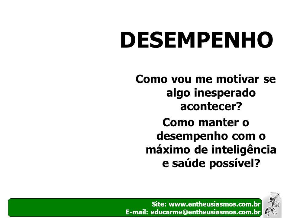 10 Site: www.entheusiasmos.com.br E-mail: educarme@entheusiasmos.com.br DESEMPENHO Como vou me motivar se algo inesperado acontecer? Como manter o des