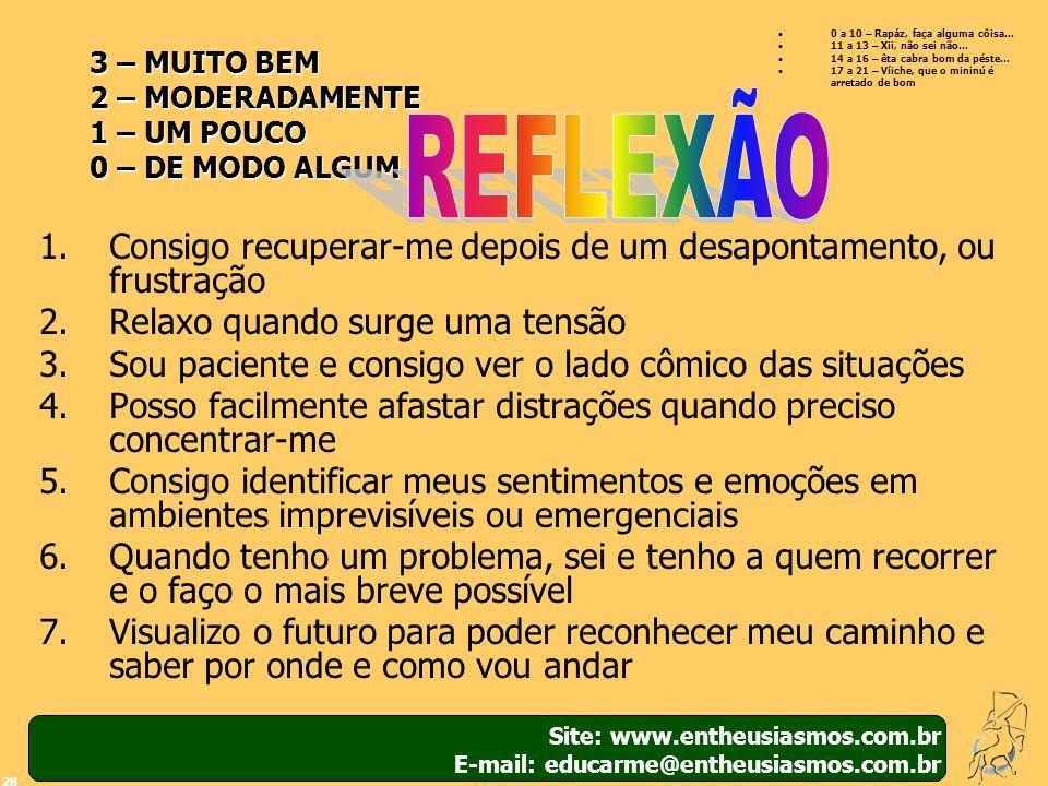 Site: www.entheusiasmos.com.br E-mail: educarme@entheusiasmos.com.br 28 3 – MUITO BEM 2 – MODERADAMENTE 1 – UM POUCO 0 – DE MODO ALGUM 1.Consigo recup